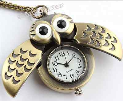 Owl necklace Pendant Watch. Bronze Necklace Watch & Chain