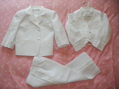 White 5pc Formal Tuxedo Suit Usher Wedding Christening for Baby Toddler Boys 0~7