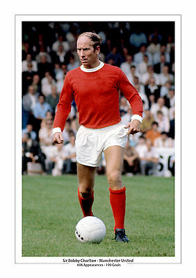 Bobby Charlton Manchester United A4 Print Photo Career Stats Man Utd 2