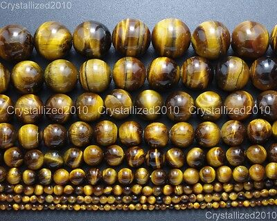 Natural Gemstone Tiger's Eye Round Beads 2mm 4mm 6mm 8mm 10mm 12mm 16mm 15.5""