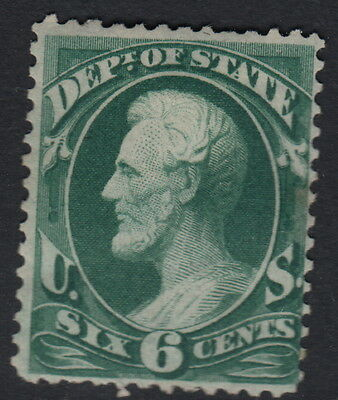 UNITED STATES OFFICIAL : 1873 6c dark green STATE  -SCOTT # 060 mint
