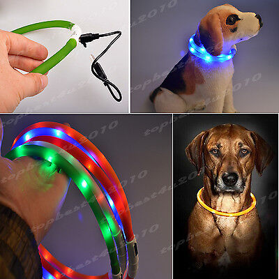 Waterproof Rechargeable USB LED Flashing Light Band Belt Pet Dog Cat Collar