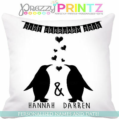 ❤PERSONALISED Penguin Cushion Wedding Anniversary Gift Valentines Christmas Love
