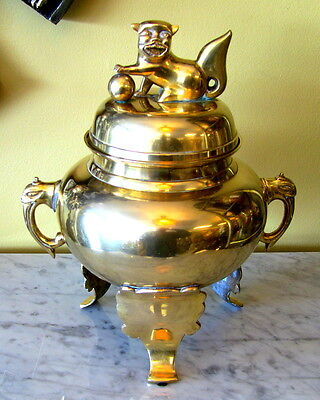 Vintage Asian Brass Tri-Footed Urn With Foo Dog Finial, Trunk Handles