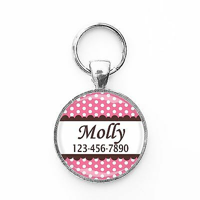 Polka-dot Pink Customized Pet ID Name Tag for Dogs or Cats