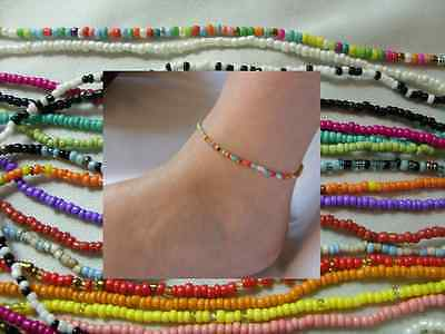 A Seed Beads Ankle Bracelet Anklet Barefoot Foot Chain Hippy Love Beach Festive