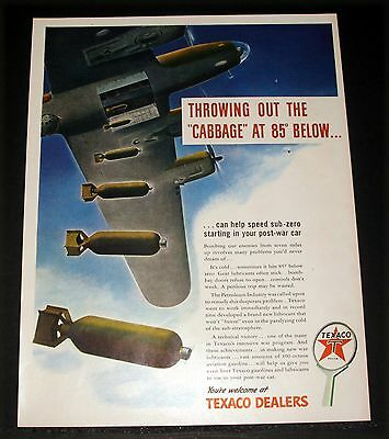 1943 Old Wwii Magazine Print Ad, Texaco, Bombing Enemy From 7 Miles, Bomber Art!