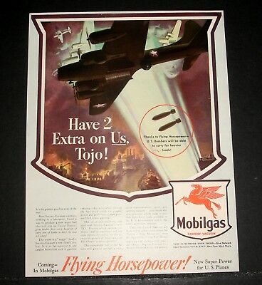 "1943 Old Wwii Magazine Print Ad, Mobilgas ""have 2 Extra On Us Tojo!"" Bomber Art!"