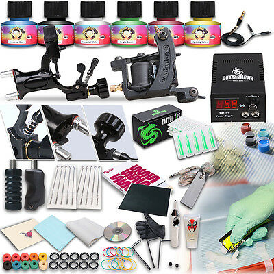 Professional Complete Tattoo Kit 2 Top Machine Gun 6 Color Inks 10 Needles