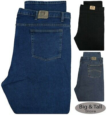 Big & Tall Men's Denim Jeans STRETCH Fabric Relaxed Fit Waist 50-68 - Full Blue