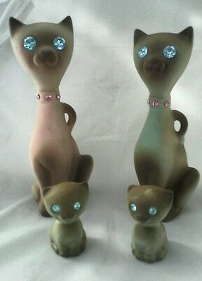 RARE Calif Pottery Original Siamese Cat Family (4) In Gorgeous MINT Condition