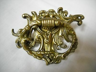 Antique Victorian Ornate Brass Single Screw Ring  Drawer Pull
