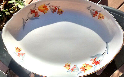 "Vintage Hall China Tulip Pattern 13"" Oval Platter Great Condition Discontinued"