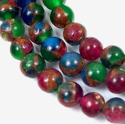 """6mm Ruby Sapphire Emerald   in Quartz with Pyrite Round Beads 15.5"""""""