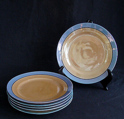 6 Vintage Blue & Orange-Gold Lusterware Salad or dessert Plates Made in Japan