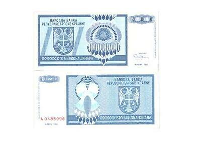 Croatia 4 Pc Regional Knin 1993 Inflation Banknote Set