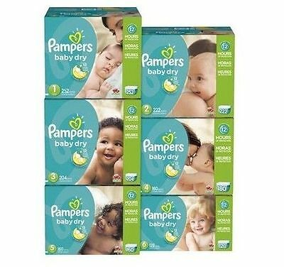 Pampers Baby Dry Diapers Size 0 1 2 3 4 5 6 PICK ANY SIZE FREE SHIPPING FAST