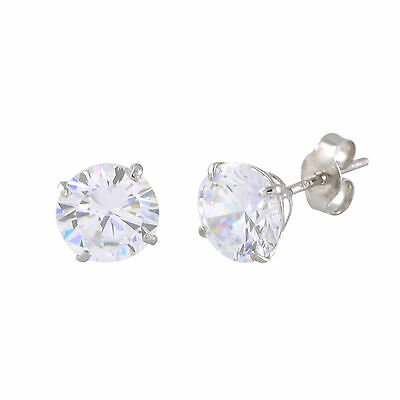 14k White Gold Stud Earrings Clear Round Basket Cubic Zirconia Pushbacks