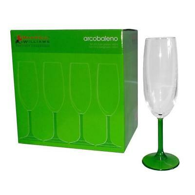 6x Maxwell & Williams Champagne Flute, Green Stem, 160mL, Gift Boxed, Wine Glass