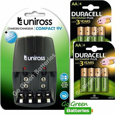 Uniross compact AA/AAA Charger + 8x Duracell AA 1300 mAh Rechargeable Batteries