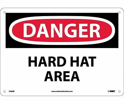 "NMC D46RB Safety Sign ""DANGER HARD HAT AREA"" Rigid Plastic 10 X 14"