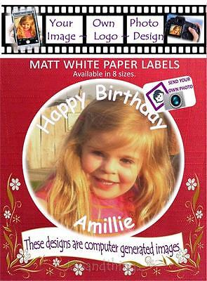 Personalised Own Photo/Design Labels/Stickers, Choice of 8 Sizes and Shapes