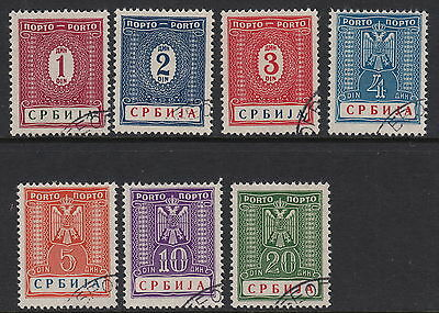 SERBIA( German Occupation) :1942 Postage Due  set SG GD69-75 fine used