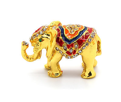 ELEPHANT Figurine Sculpture hand painted Gold with crystal jewelry