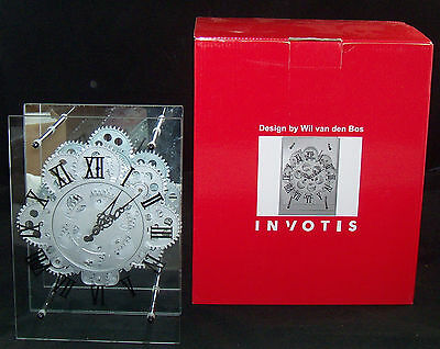 Invotis Clock by Wil Van Den Bos Mirror Battery Moving Gears Works Great! & Box