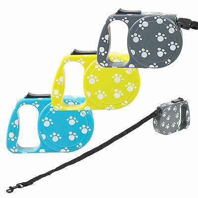 3.5m Extending Automatic Retractable Pet Dog Leash Lead Cord Tether Paw Prints