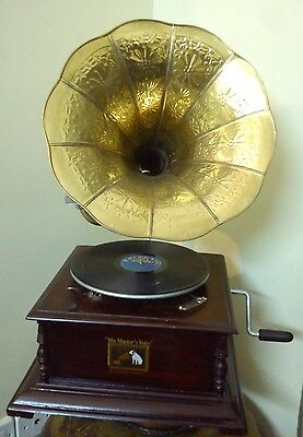 WindUp Gramaphone Gramophone Phonograph HMV Vintage Brass Horn Working New