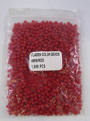 1000 Red Fladen Beads 4mm Game Coarse Sea Fishing Rig Making Lures Float Stops