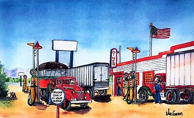 PERSONALIZED 16x20 Truck Stop Art Print (Diner Trailer Mack Gas Station Driver )