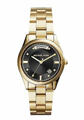 Michael Kors Colette Black Dial Gold Plated Ladies Watch MK6070 ORG $225