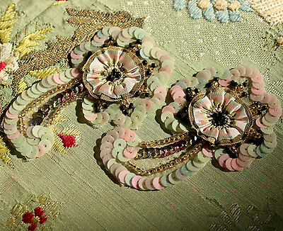 ANTIQUE  SILK APPLIQUES TINY OMBRE METAL TRIM BEADED ROSETTE FRENCH DOLL FLAPPER