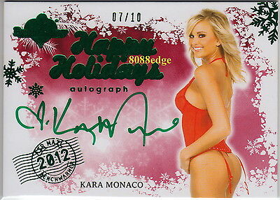 2012 Benchwarmer Holiday Bonus Auto: Kara Monaco #7/10 Air Mail Green Autograph