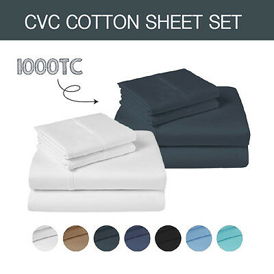 Single/ks/double/queen/king 1000Tc Cvc Cotton (Fitted,flat&pillowcase) Sheet Set