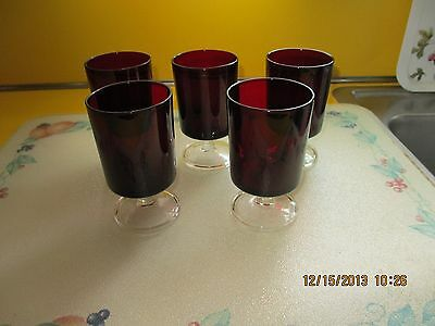 RUBY RED STEMWARE FIVE MADE IN FRANCE   SMALLER VERSION