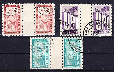 MEXICO 1950 - 75th anniv. UPU GUTTER SET USED SC# 872 + C206 - C207