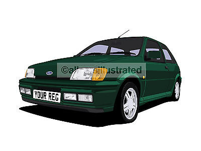 Ford Fiesta Rs1800 Car Art Print Picture (Size A4). Personalise It!