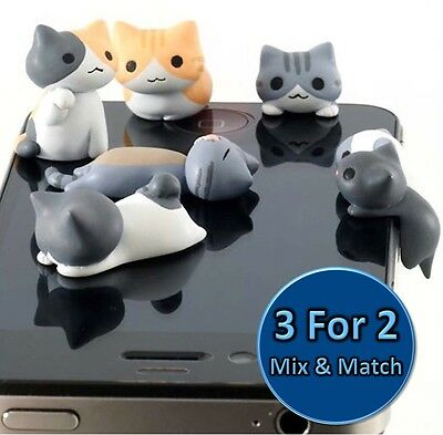 Cute Cat & Kitten Universal Dust Plug Cap Mobile Phone Tablet Charm Case 1pc lot