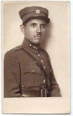 Greek Army Soldier in Uniform portrait Military RPPC 1929 Greece. real photo