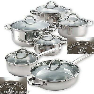 Stainless Steel Cookware Set 12-Piece Induction Ready Cooking Pots Pans Lids NEW