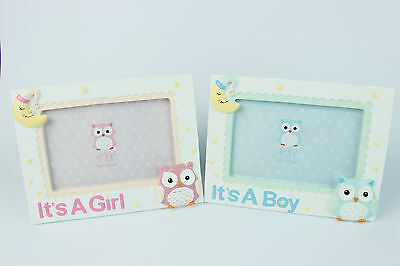 "Newborn Baby Gift 6"" x 4"" Photo Picture Owl Frame Boy Girl Keepsakes 15cm x 10cm"