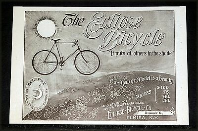 1897 Old Magazine Print Ad, The Eclipse Bicycle, It Puts All Others To Shame!