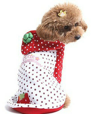 """Red 7.8"""" Dogs Body Strawberry Style Pet Dogs Coat Free Shipping Dogs Clothing"""