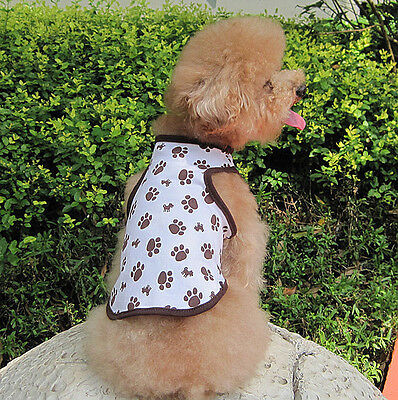 Pet Puppy cute Brown Small footprint printing vest pets clothing Dog clothes 57