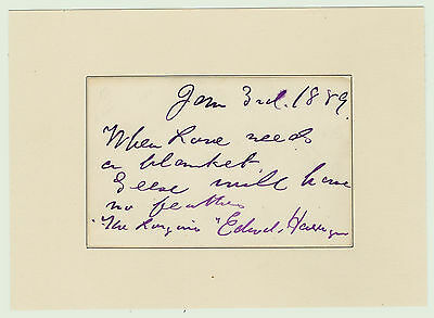 RARE Autograph Quote Signed - IMPORTANT Actor - Edward HARRIGAN - 1889