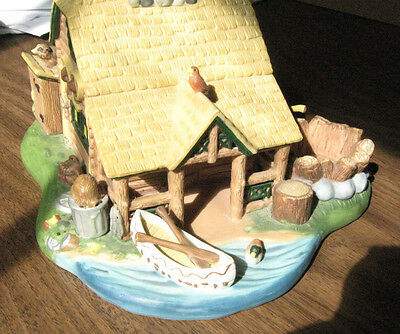 PartyLite Tea Light Candle Holder Gone Fishing Cabin # P7305 W/O Box