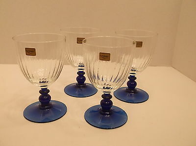Set of 4 Luminarc Blue Stemed 10 Oz. Ribbed Wine Water Glasses Made in France